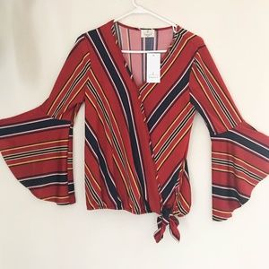 Ember Women's Top Size M Striped Bell Sleeve Faux